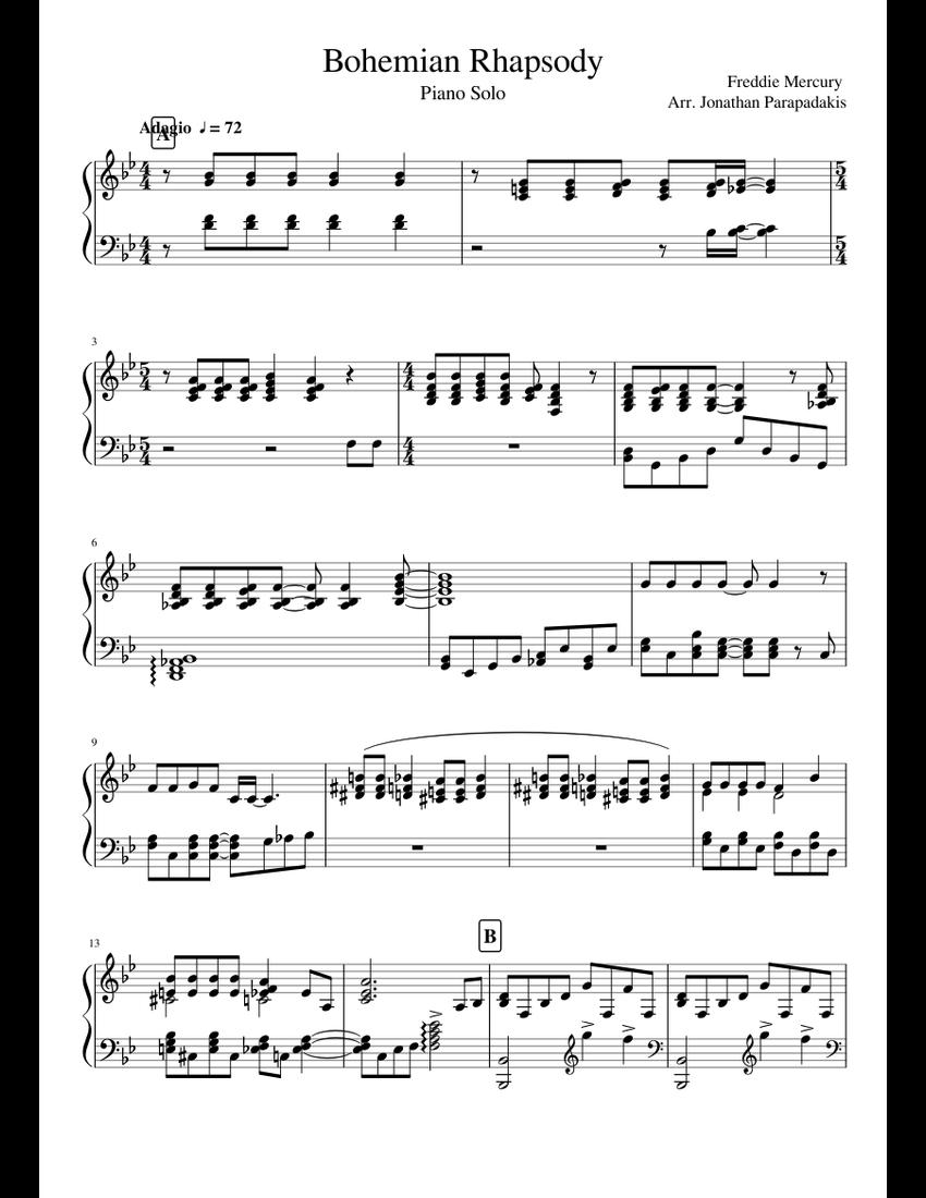 queen bohemian rhapsody piano tutorial