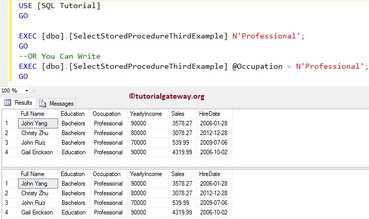 sql server stored procedure tutorial