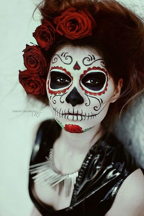 sugar skull half face makeup tutorial