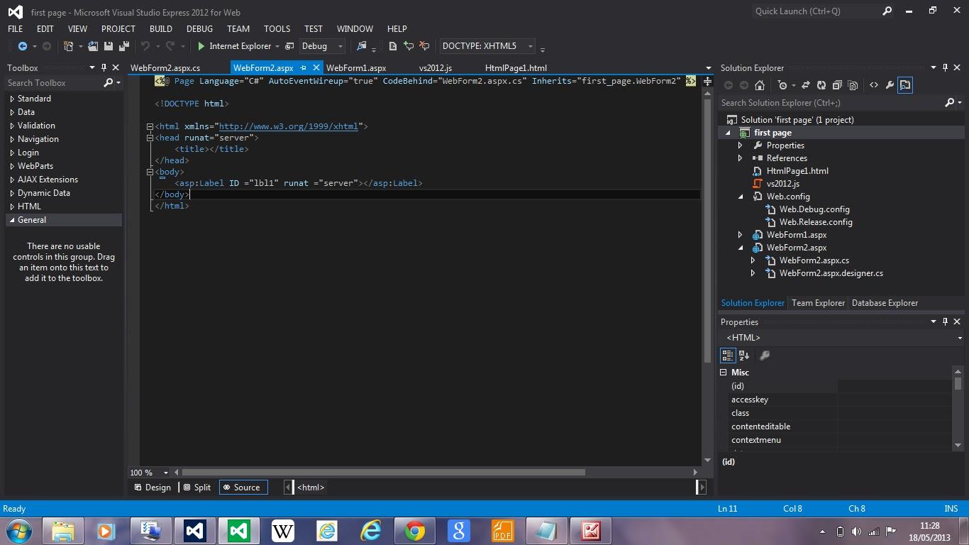 visual studio 2012 for web tutorial