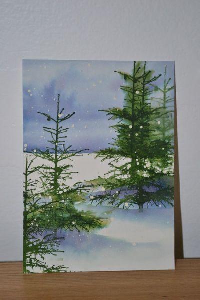 watercolor winter scene tutorial