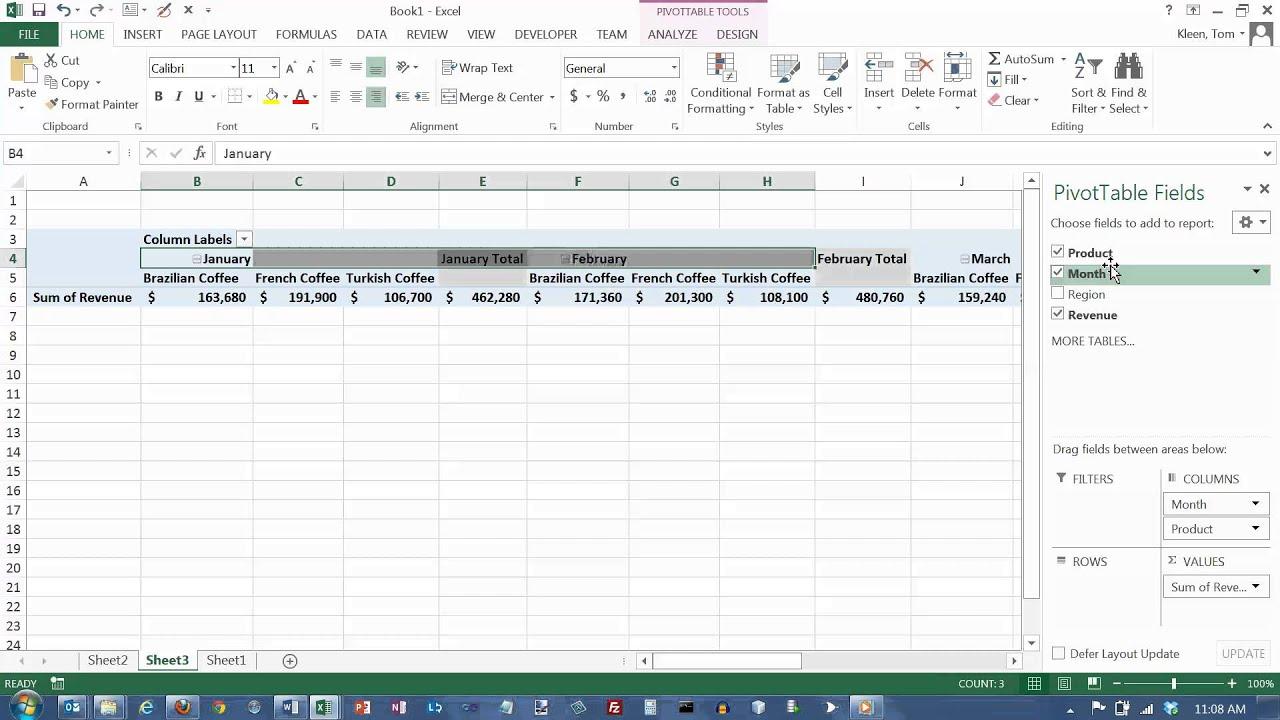 youtube excel pivot table tutorial 2013